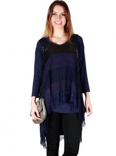 Bayan Dantelli Lacivert Bluz Özel Tasarım