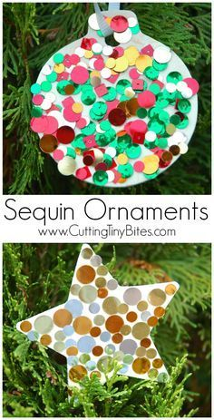 Christmas craft for kids. Sparkly, shiny sequin ornaments make a perfect craft for preschoolers, elementary, or older children. Great fine motor work, too!