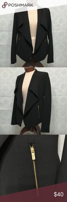 Calvin Klein Black Blazer with Gold Zippers Made of 94% Polyester and 6% Spandex. I bought this from Macy's and didn't wear it at all. It's just been hanging in my closet. Calvin Klein Jackets & Coats Blazers