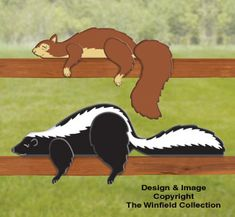 Skunk & Squirrel Rail Pets Pattern NEW!  Add a whimsical touch to fences or handrails with these adorable snoozing characters. Perch them indoors as well on a counter top, shelf or windowsill.