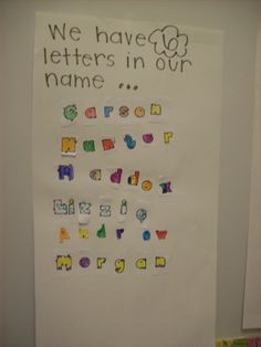 First day activity...classifying names based on number of letters. Name-learning activity.