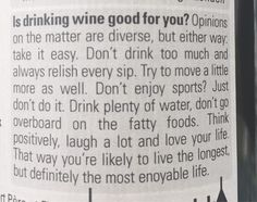 Bacheca lavoro  #BachecaLavoro #trovarelavoro #bacheca #MercatoLavoro #HR Unexpected life advice from a bottle of wine...