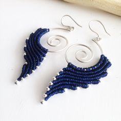 A personal favorite from my Etsy shop https://www.etsy.com/listing/531640318/sterling-silver-macrame-earrings-diy