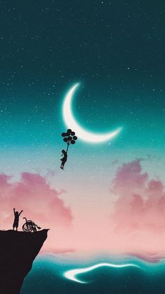 Fly to the moon - Beautiful Wallpaper - Cute Wallpaper Backgrounds, Pretty Wallpapers, Girl Wallpaper, Galaxy Wallpaper, Fantasy Kunst, Fantasy Art, Cellphone Wallpaper, Iphone Wallpaper, Beautiful Nature Wallpaper