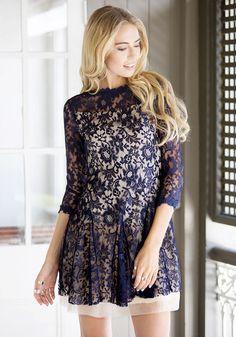 Royal Blue Skater Dress #dress #lace #fashion