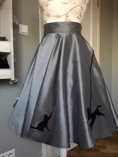 SHE IS ME silver skirt with dog and kat, 50th