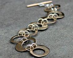 Items similar to Sterling Silver Bracelet - Hammered Silver Link Bracelet - Hand Made Silver Chain Bracelet - Modern Sterling Silver Bracelet - Oval Links on Etsy Handmade Bracelets, Link Bracelets, Chain Bracelets, Handcrafted Jewelry, Silver Earrings, Silver Jewelry, Earrings Uk, Wire Jewelry, Bracelets En Argent Sterling