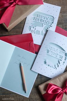 Elegant Paper Cut Holiday Christmas Cards, Free files - Lia Griffith