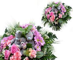 Růžová s medvídky Květiny online - květinářství Praha Pankrác - netradiční kytice, dárky pro muže, dárkové koše, ovocné kytice. Pro ženy čerstvé řezané růže, Holandské tulipány, gerbery. Rozvoz květin.