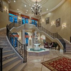 Ideas for modern indoor fountains – bring the environment into your home - Decoration Foyer Staircase, Double Staircase, Interior Staircase, Staircase Design, Stair Design, Spiral Staircases, Railing Design, Stair Railing, Railings