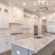 I'm loving all this gorgeous wood that has such a beautiful gray tone to it! It blends so beautifully with the gray cabinetry, tile and… Grey Kitchen Island, White Kitchen Backsplash, Gray And White Kitchen, Kitchen Redo, Home Decor Kitchen, Kitchen Interior, New Kitchen, Home Kitchens, Kitchen Remodel