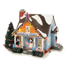 department 56 - snow village - patriotic house