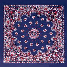 BLUE RED WHITE round western paisley bandana scarf