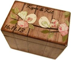 Wedding Guest Book  Box Alternative, Wedding Recipe Box, Rustic Love Birds, Large Handcrafted Box Holds 4x6 MADE TO ORDER on Etsy, $34.00