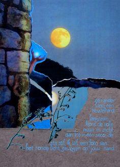 'Volle maan' #ansichtkaart gemaakt door Saskia Splinter #fullmoon #postcard #art #calligraphy