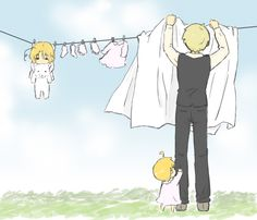 Hanging the laundry... wait. Um, Arthur, I think you missed something - being that one of those nightshirts still had a CHILD in it??? Still, let's be honest: I can't help but crack a smile anyway, because the whole situation is so ridiculous as to be comical.