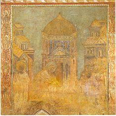 San Pedro cura el mutilado, afresco en el transepto derecho de la Basílica Superior de San Francisco de Asís. Cimabue 1277 - 1283