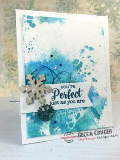 Snowflake Card with Distress Inks
