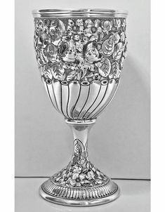 View this item and discover similar for sale at - Antique Gorham sterling goblet, circa The goblet on pedestal base, all richly decorated with embossed repousee chased and engraved foliage decoration. Antique Silver, 925 Silver, Sterling Silver, Gorham Sterling, Vase Shapes, Silver Rings Handmade, Antique Furniture, Art Nouveau, Wine Glass