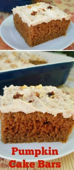 Quick, easy and sooo delicious recipe for moist Pumpkin Cake Bars - around 15 servings #Pumpkincake #Pumpkinrecipes #cake