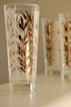 highball glass set, mid century modern, frosted with gold leaf design