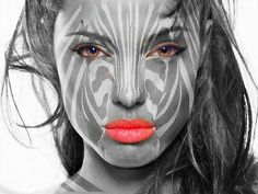Cool face painting. Awesome, but probably super hard to do that tone on tone!