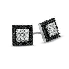 1/2 CT. T.W. Enhanced Black and White Diamond Square Frame Earrings in 10K White Gold - Zales