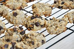 No Butter, No Sugar, Vegan Peanut Butter Banana Chocolate Chip Cookies Healthy Cookie Recipes, Healthy Cookies, Dessert Recipes, Party Recipes, Banana Chocolate Chip Cookies, Chocolate Chip Cookies Ingredients, Oatmeal Cookies, Chocolate Chips, Vegan Sweets