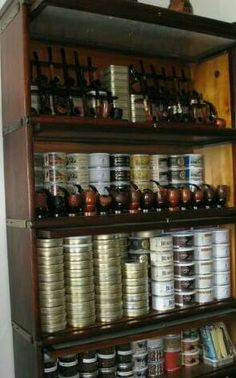 Private tobacco and pipe cellar. Lovely display of pipes and pipe tobacco!