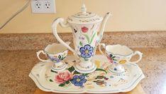 Blue Ridge Southern Pottery Beautiful Romance Chocolate Set - Floral Chocolate Pot, Sugar, Creamer, Tray