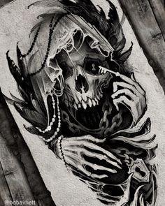 Evil Skull Tattoo, Skull Rose Tattoos, Evil Tattoos, Rose Tattoos For Men, Demon Tattoo, Black Ink Tattoos, Angel Of Death Tattoo, Reaper Tattoo, Dark Art Tattoo