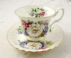 Vintage Royal Albert Floral Tea Cup and Saucer, Summertime Series, English Bone China