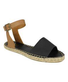 Love this Black & Tan Leanne Ankle-Strap Espadrille Sandal by Fahrenheit on #zulily! #zulilyfinds
