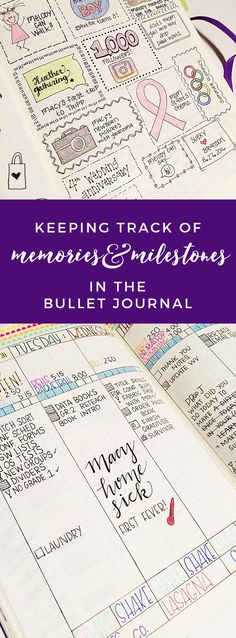 Keeping Track of Memories & Milestones in the Bullet Journal http://productiveandpretty.com/bullet-journal-memories/?utm_campaign=coschedule&utm_source=pinterest&utm_medium=Jen%20%2B%20Liz%20%7C%20Productive%20and%20Pretty&utm_content=Keeping%20Track%20of%20Memories%20and%20Milestones%20in%20the%20Bullet%20Journal