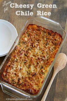 Lower-Fat Cheesy Green Chile Rice | www.ShockinglyDelicious.com #Kerrygold #ricecasserole #easyrecipe #Hatchchile