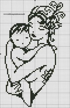 0 point de croix silhouette mere et enfant dans ses bras - cross stitch baby in the arms of his mother silhouette Beaded Cross Stitch, Cross Stitch Baby, Cross Stitch Charts, Cross Stitch Embroidery, Hand Embroidery, Filet Crochet, Crochet Chart, Funny Cross Stitch Patterns, Cross Stitch Designs