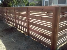 Four Foot Tall Horizontal Cedar Fencing. Modern Horizontal Style Fence by Cedar Fences LLC, Portland Oregon.