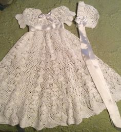 Heirloom Vintage style Christening gown crochet pattern made with no 10 crochet  thread