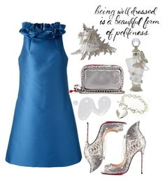 """""""Dresses..."""" by grinevagh ❤ liked on Polyvore featuring Lanvin, Illamasqua and Christian Louboutin"""