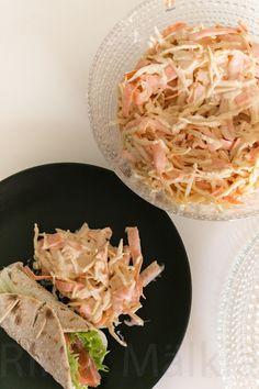 Hirsitalon keittiössä: Vappubrunssi osa 2: Coleslaw Coleslaw, Cabbage, Spaghetti, Vegetables, Ethnic Recipes, Food, Coleslaw Salad, Vegetable Recipes, Eten
