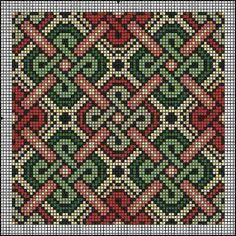 Brickwork or canvaswork, good for almoner (bag) Gallery.ru / Фото - Подушки - natamalin/ all I am seeing is TAPESTRY crochet! what a feat this would be! Celtic Patterns, Loom Patterns, Beading Patterns, Embroidery Patterns, Pillow Patterns, Cross Stitching, Cross Stitch Embroidery, Cross Stitch Designs, Cross Stitch Patterns