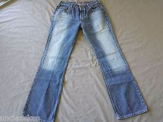 Silver Mens Button Fly Jeans Size 32x34