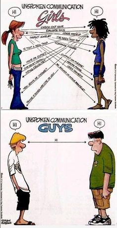 An interesting image about cross-cultural and/or gender communication. Depicting the importance of communicating to each other. Under the topic Intercultural communication.