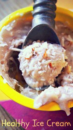 Healthy Ice Cream 1 Small Banana 1/2 Cup Unsweetened Almond Milk 2 Tbsp Sliced Almonds 2 Tbsp Shredded Coconut 1 Packet of Truvia (Or Stevia) Cinnamon (Optional)