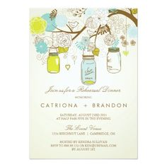 Spring Wedding Rehearsal Dinner RUSTIC MASON JARS SPRING REHEARSAL DINNER INVITE