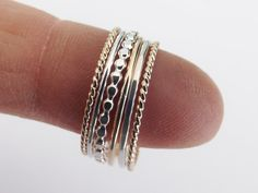 Silver and Gold Stacking Set6 Ring by FULLMOONJEWELLERY on Etsy