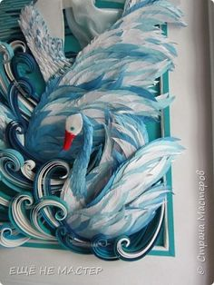 Лебединое озеро. | Страна Мастеров Paper Quilling Designs, Quilling Paper Craft, Paper Crafts, Quilling Comb, Paper Art, Rooster, Card Making, Cards, Diy