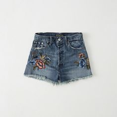 Abercrombie & Fitch Embroidered High-Rise Shorts ($58) ❤ liked on Polyvore featuring shorts, medium wash, high-rise shorts, embroidered shorts, high-waisted shorts, highwaist shorts and high rise shorts