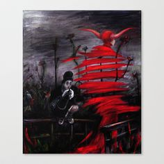 Stroll in Red Stretched Canvas by Tatiana Ivchenkova - $85.00