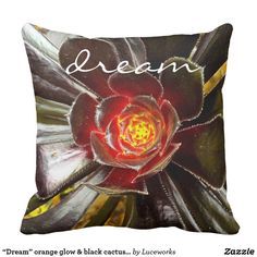 """Dream"" orange glow & black cactus photo pillow"